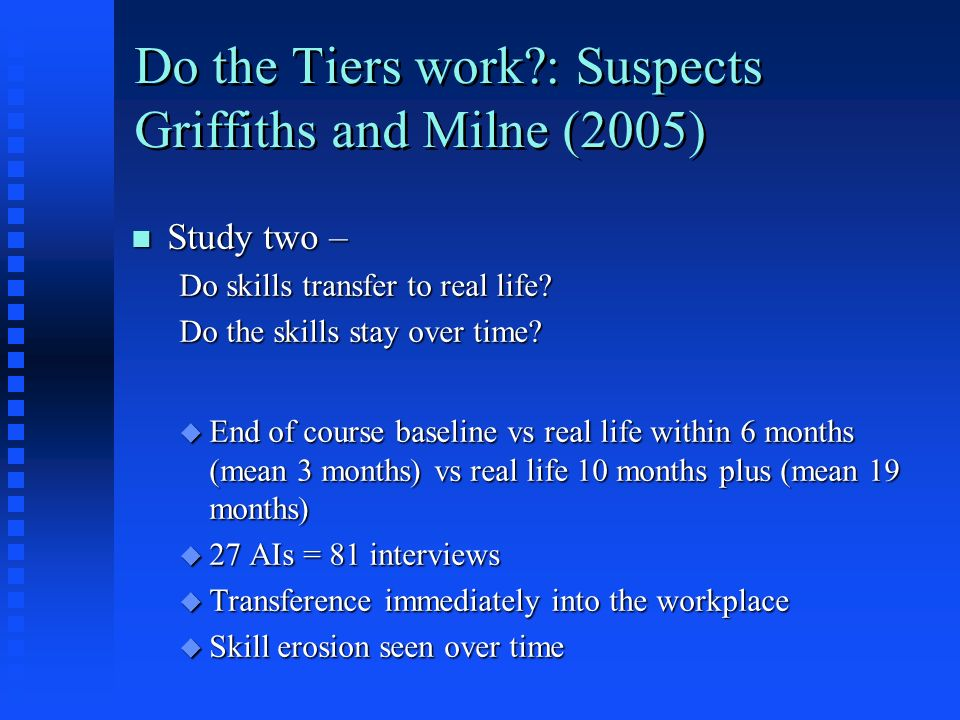 Do the Tiers work?: Suspects Griffiths and Milne (2005) n Study two – Do skills transfer to real life? Do the skills stay over time? u End of course b