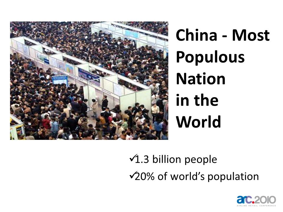China - Most Populous Nation in the World 1.3 billion people 20% of worlds population