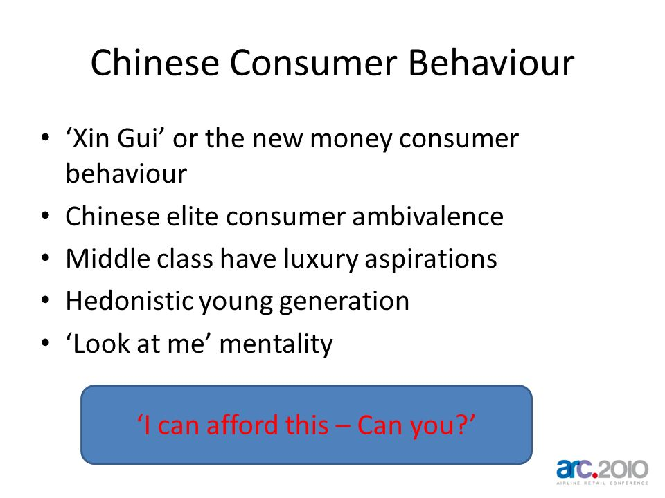 Chinese Consumer Behaviour Xin Gui or the new money consumer behaviour Chinese elite consumer ambivalence Middle class have luxury aspirations Hedonis