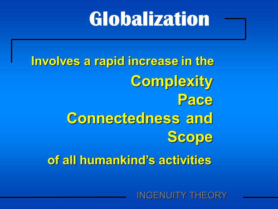 ComplexityPace Connectedness and Scope Globalization of all humankinds activities Involves a rapid increase in the INGENUITY THEORY