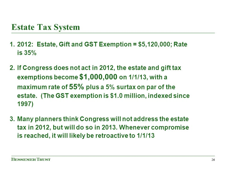 26 Estate Tax System 1.2012: Estate, Gift and GST Exemption = $5,120,000; Rate is 35% 2.If Congress does not act in 2012, the estate and gift tax exemptions become $1,000,000 on 1/1/13, with a maximum rate of 55% plus a 5% surtax on par of the estate.