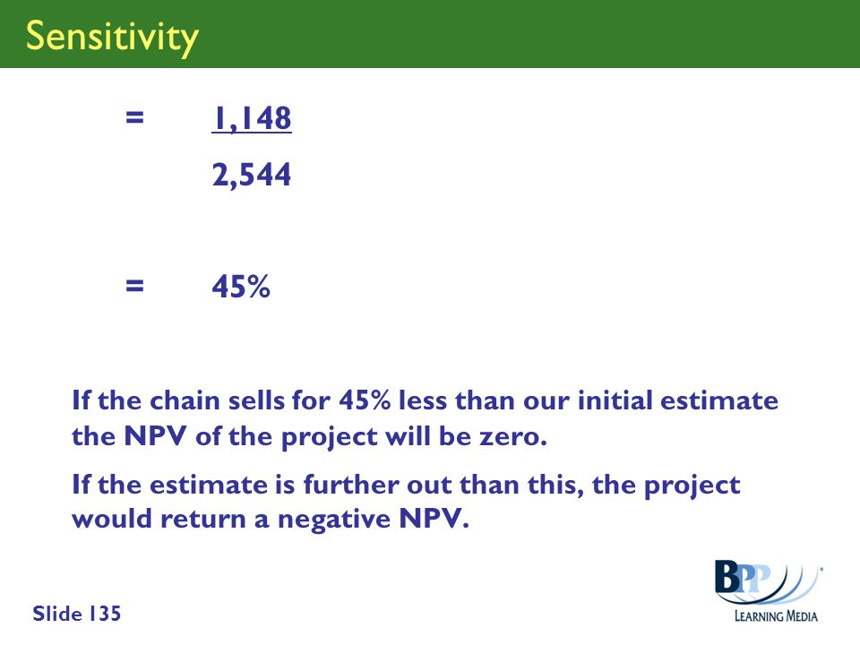 Slide 135 Sensitivity = 1,148 2,544 = 45% If the chain sells for 45% less than our initial estimate the NPV of the project will be zero. If the estima