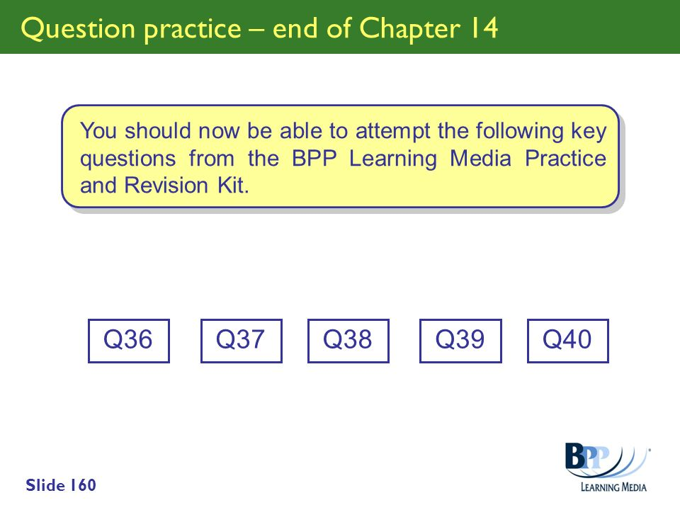 Slide 160 Question practice – end of Chapter 14 Q36 You should now be able to attempt the following key questions from the BPP Learning Media Practice