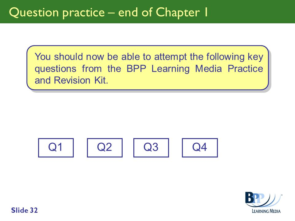 Slide 32 Question practice – end of Chapter 1 Q1 You should now be able to attempt the following key questions from the BPP Learning Media Practice an