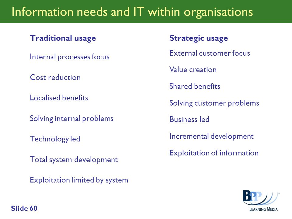 Slide 60 Information needs and IT within organisations Traditional usage Internal processes focus Cost reduction Localised benefits Solving internal p