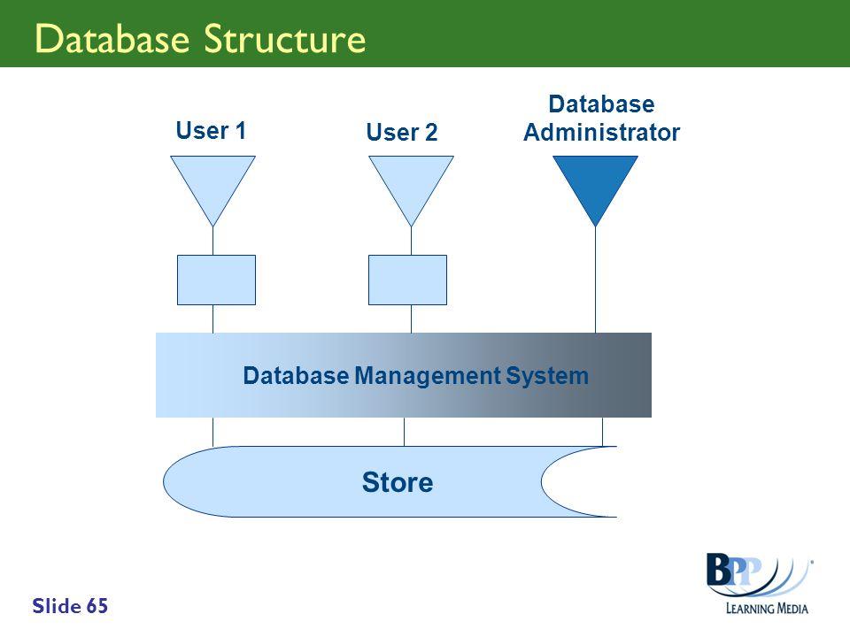 Slide 65 Database Structure Store Database Management System Database Administrator User 1 User 2