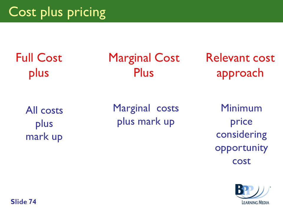 Slide 74 Full Cost plus Relevant cost approach Marginal Cost Plus All costs plus mark up Marginal costs plus mark up Minimum price considering opportu