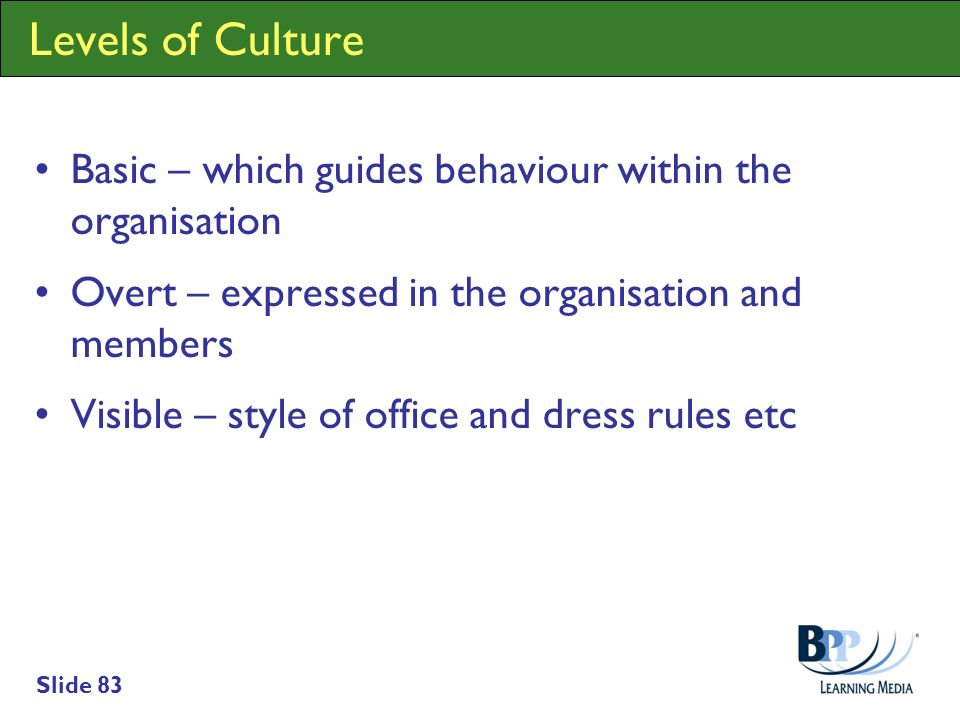 Slide 83 Levels of Culture Basic – which guides behaviour within the organisation Overt – expressed in the organisation and members Visible – style of
