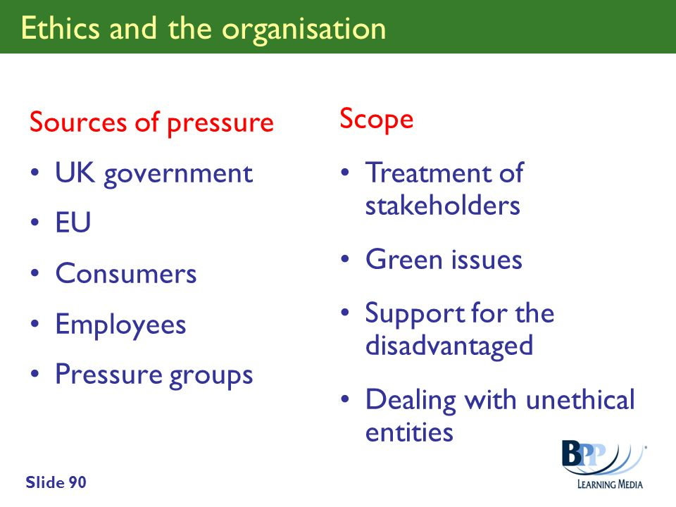 Slide 90 Ethics and the organisation Sources of pressure UK government EU Consumers Employees Pressure groups Scope Treatment of stakeholders Green is