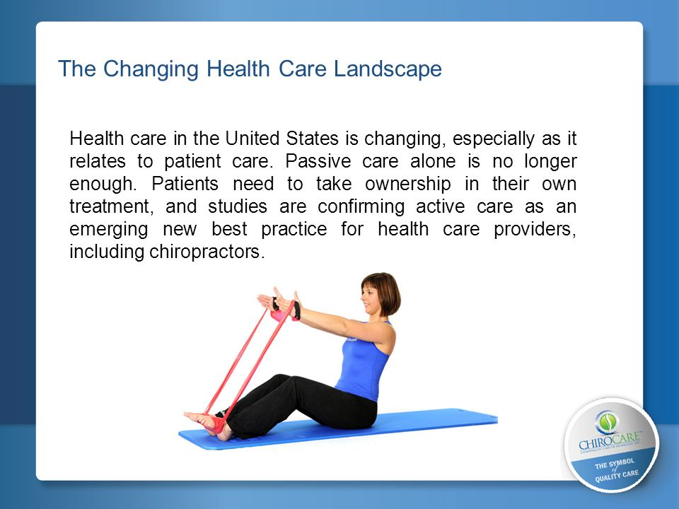 The Changing Health Care Landscape Health care in the United States is changing, especially as it relates to patient care. Passive care alone is no lo