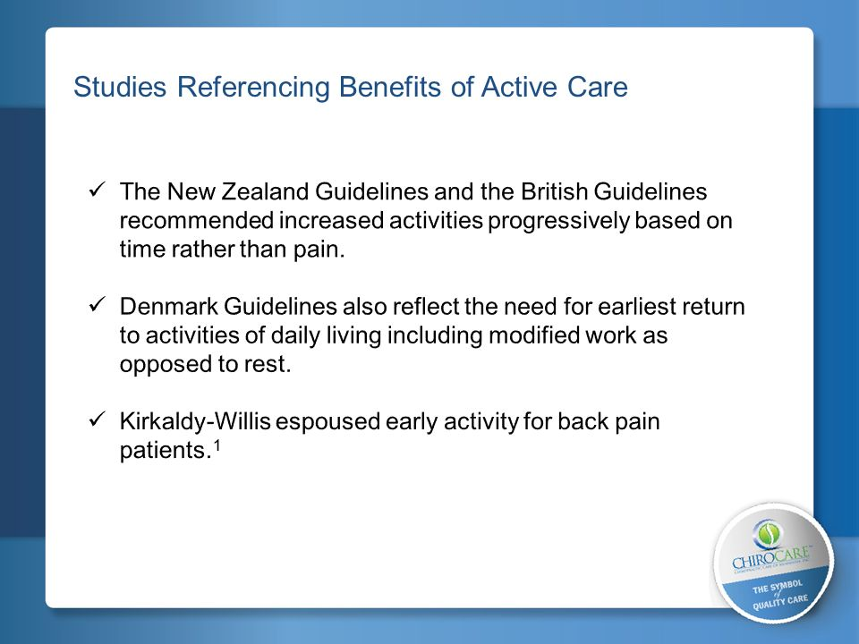 Studies Referencing Benefits of Active Care