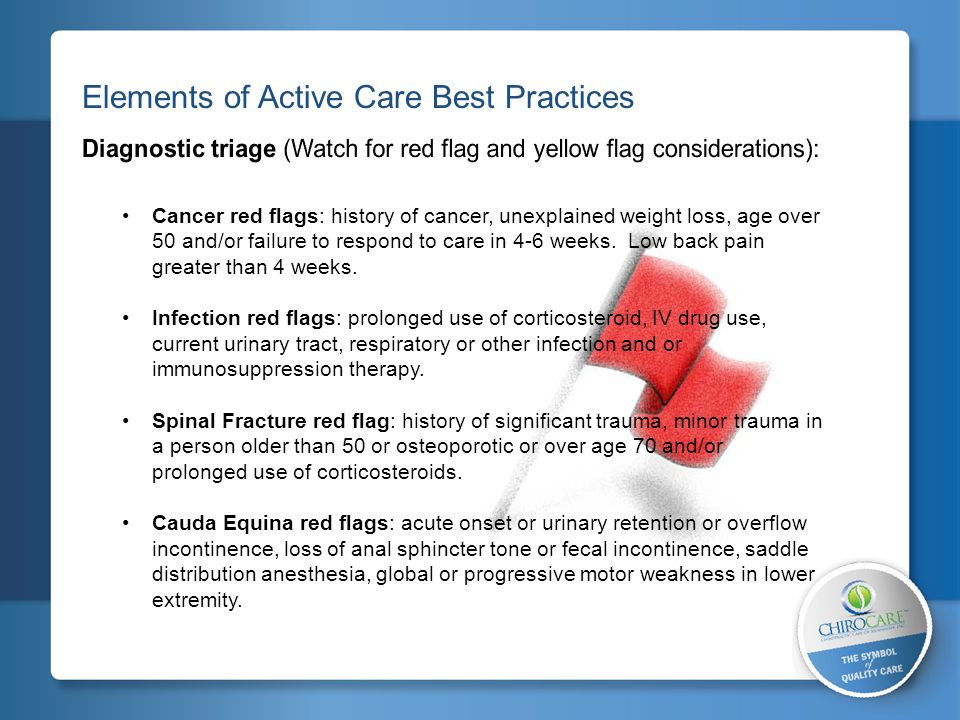 2 Elements of Active Care Best Practices Cancer red flags: history of cancer, unexplained weight loss, age over 50 and/or failure to respond to care i