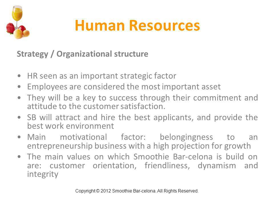 Copyright © 2012 Smoothie Bar-celona. All Rights Reserved. Human Resources Strategy / Organizational structure HR seen as an important strategic facto