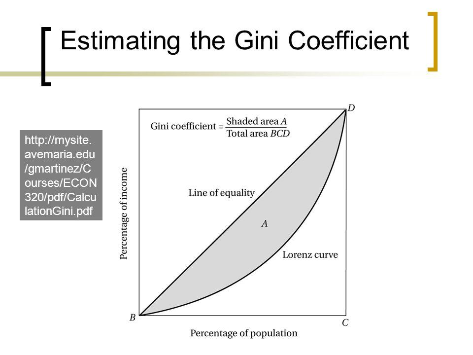 Estimating the Gini Coefficient http://mysite. avemaria.edu /gmartinez/C ourses/ECON 320/pdf/Calcu lationGini.pdf