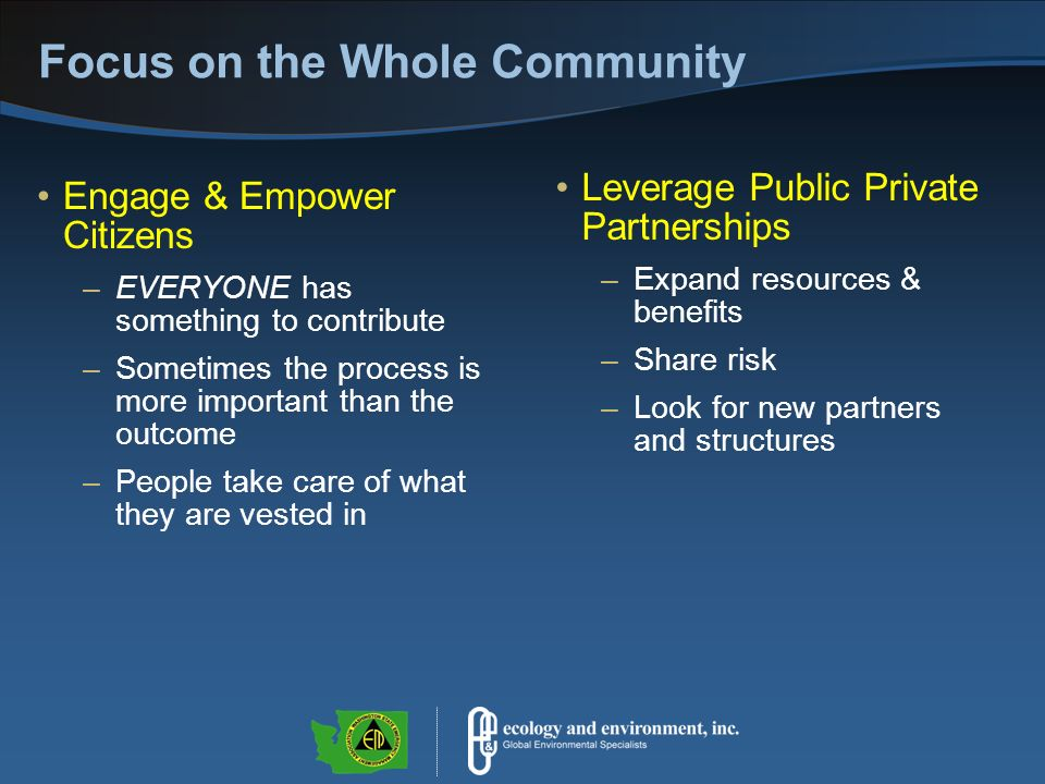 Focus on the Whole Community Engage & Empower Citizens –EVERYONE has something to contribute –Sometimes the process is more important than the outcome –People take care of what they are vested in Leverage Public Private Partnerships –Expand resources & benefits –Share risk –Look for new partners and structures