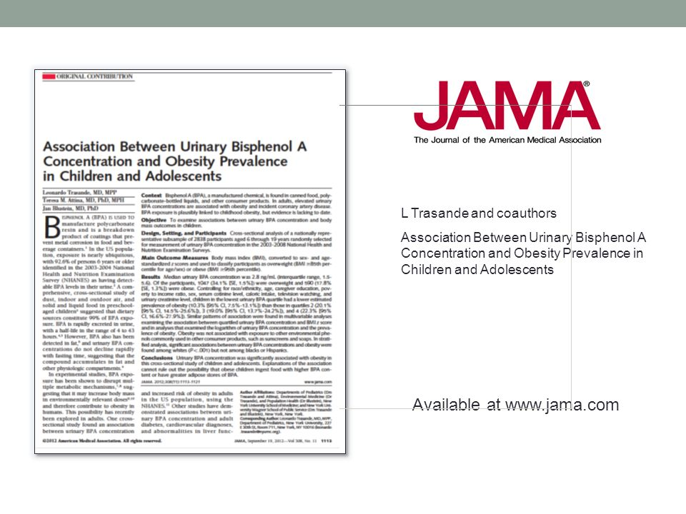 Available at www.jama.com L Trasande and coauthors Association Between Urinary Bisphenol A Concentration and Obesity Prevalence in Children and Adoles