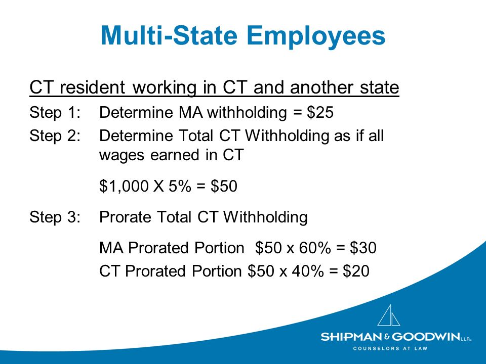 Multi-State Employees CT resident working in CT and another state Step 1:Determine MA withholding = $25 Step 2: Determine Total CT Withholding as if all wages earned in CT $1,000 X 5% = $50 Step 3:Prorate Total CT Withholding MA Prorated Portion $50 x 60% = $30 CT Prorated Portion $50 x 40% = $20