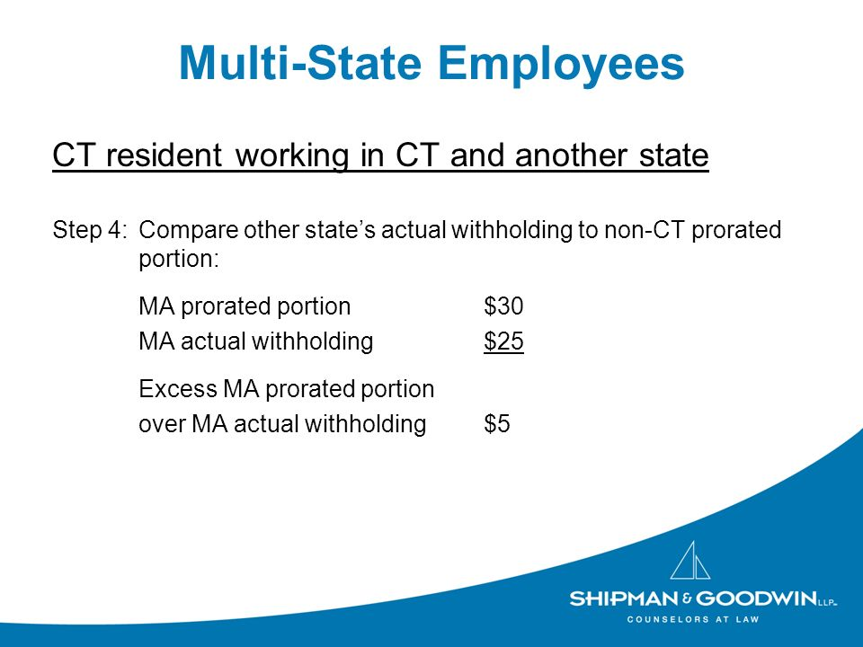 Multi-State Employees CT resident working in CT and another state Step 4:Compare other states actual withholding to non-CT prorated portion: MA prorat