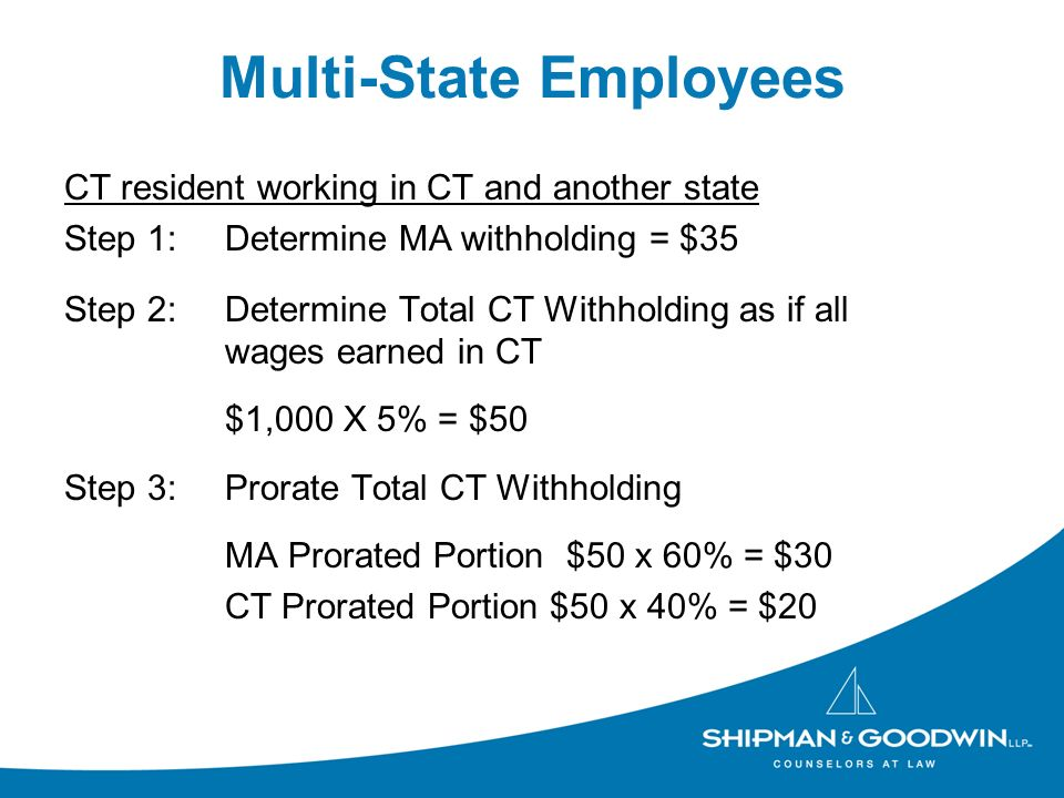 Multi-State Employees CT resident working in CT and another state Step 1:Determine MA withholding = $35 Step 2: Determine Total CT Withholding as if all wages earned in CT $1,000 X 5% = $50 Step 3:Prorate Total CT Withholding MA Prorated Portion $50 x 60% = $30 CT Prorated Portion $50 x 40% = $20