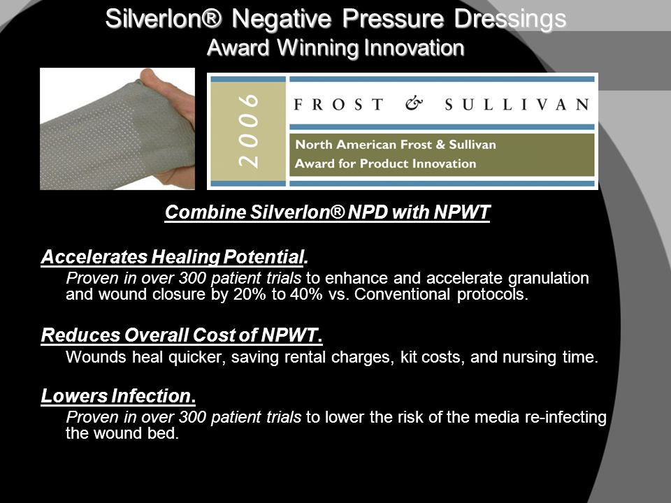 One Year Value Analysis Projection Using Silverlon® with Negative Pressure Wound Therapy Expected Annual Cost Savings Analysis Using Medicare Reimbursement Pricing 2003 actual utilization at 800 bed teaching hospital with an average of 18 active VACs Silverlon® Negative Pressure Dressing with VAC® vs.