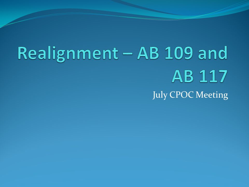 July CPOC Meeting