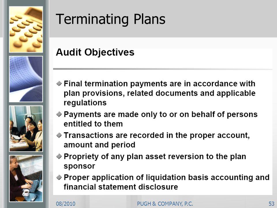 08/2010PUGH & COMPANY, P.C.53 Terminating Plans