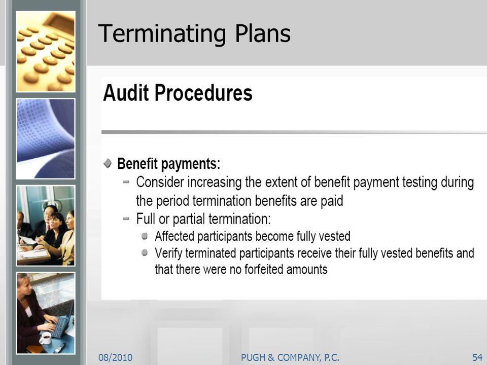 08/2010PUGH & COMPANY, P.C.54 Terminating Plans