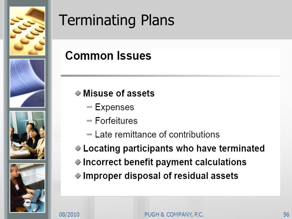 08/2010PUGH & COMPANY, P.C.56 Terminating Plans