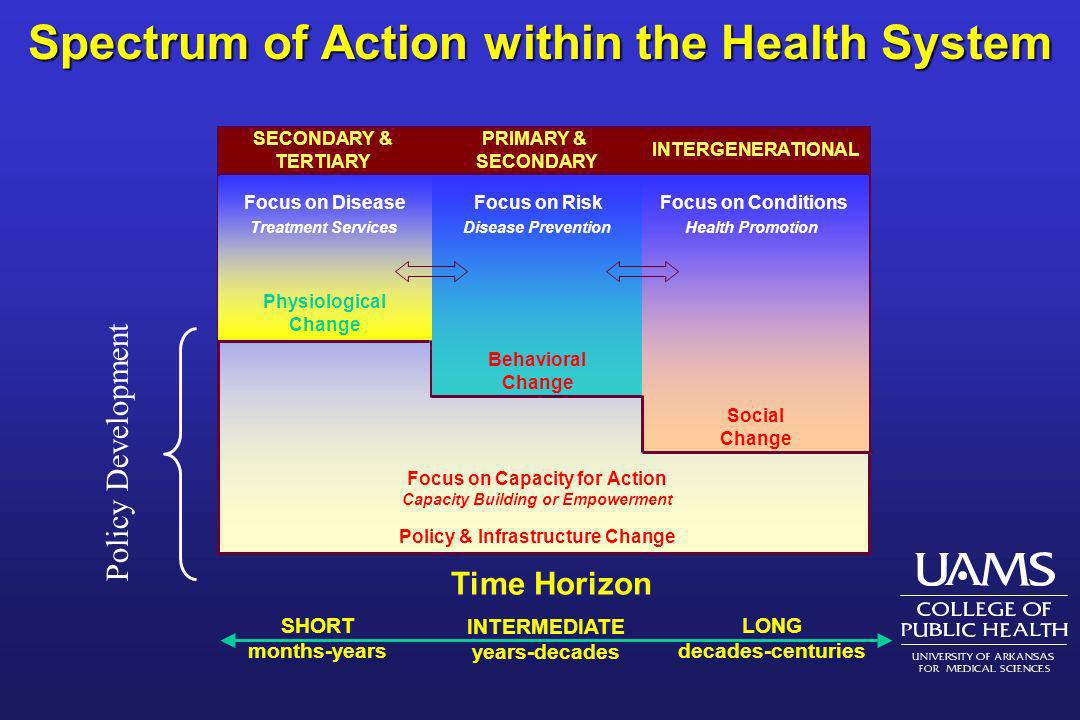 Spectrum of Action within the Health System SHORT months-years INTERMEDIATE years-decades LONG decades-centuries Time Horizon SECONDARY & TERTIARY Phy