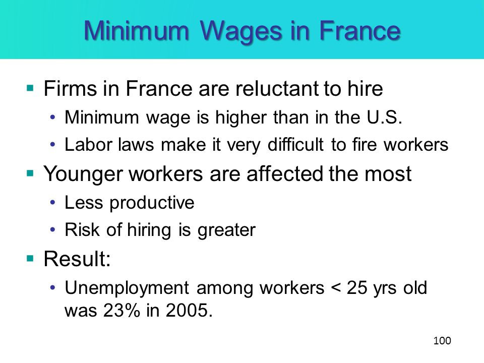 Minimum Wages in France Firms in France are reluctant to hire Minimum wage is higher than in the U.S. Labor laws make it very difficult to fire worker