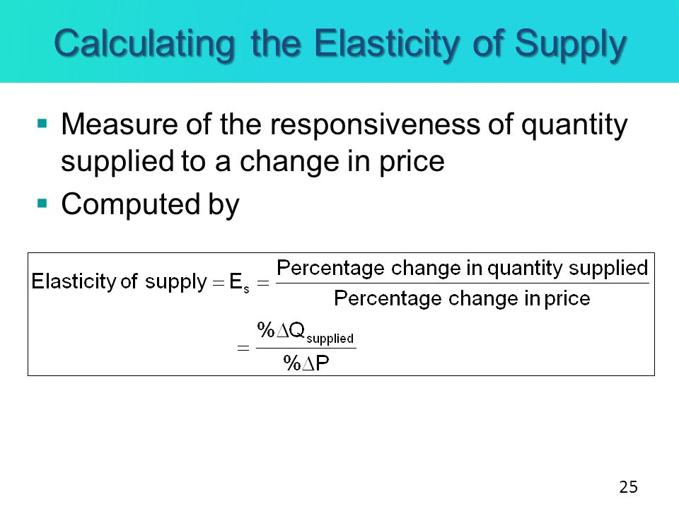 Calculating the Elasticity of Supply Measure of the responsiveness of quantity supplied to a change in price Computed by 25