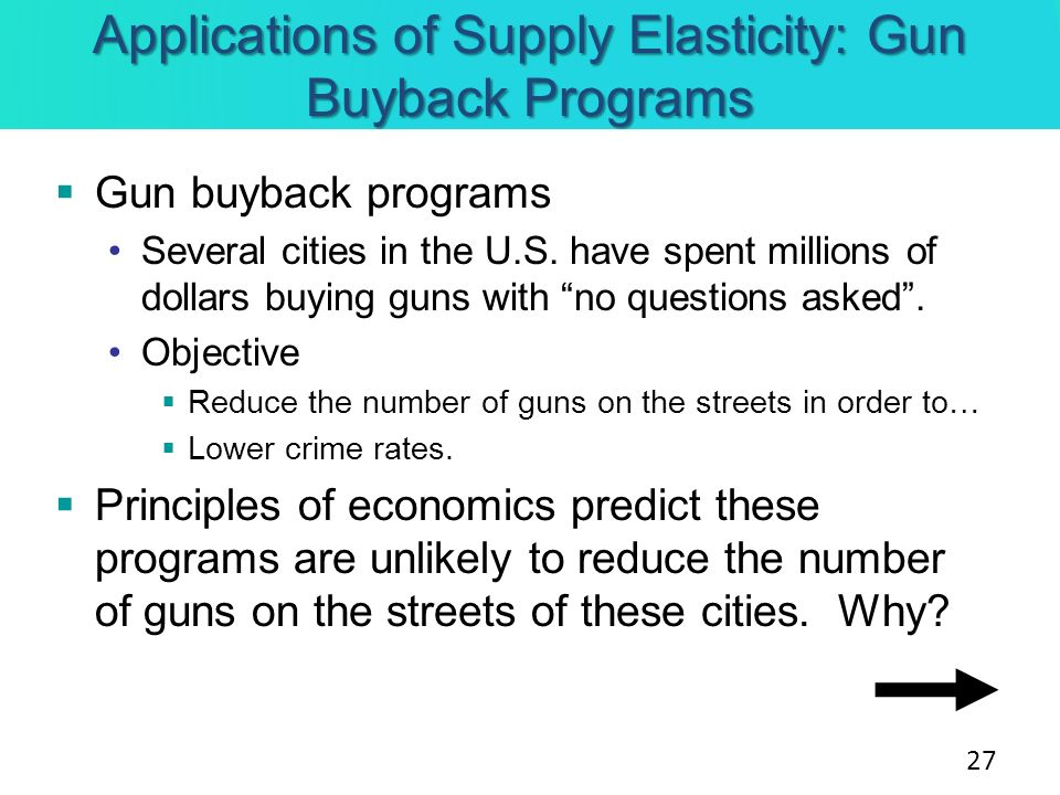Applications of Supply Elasticity: Gun Buyback Programs Gun buyback programs Several cities in the U.S. have spent millions of dollars buying guns wit
