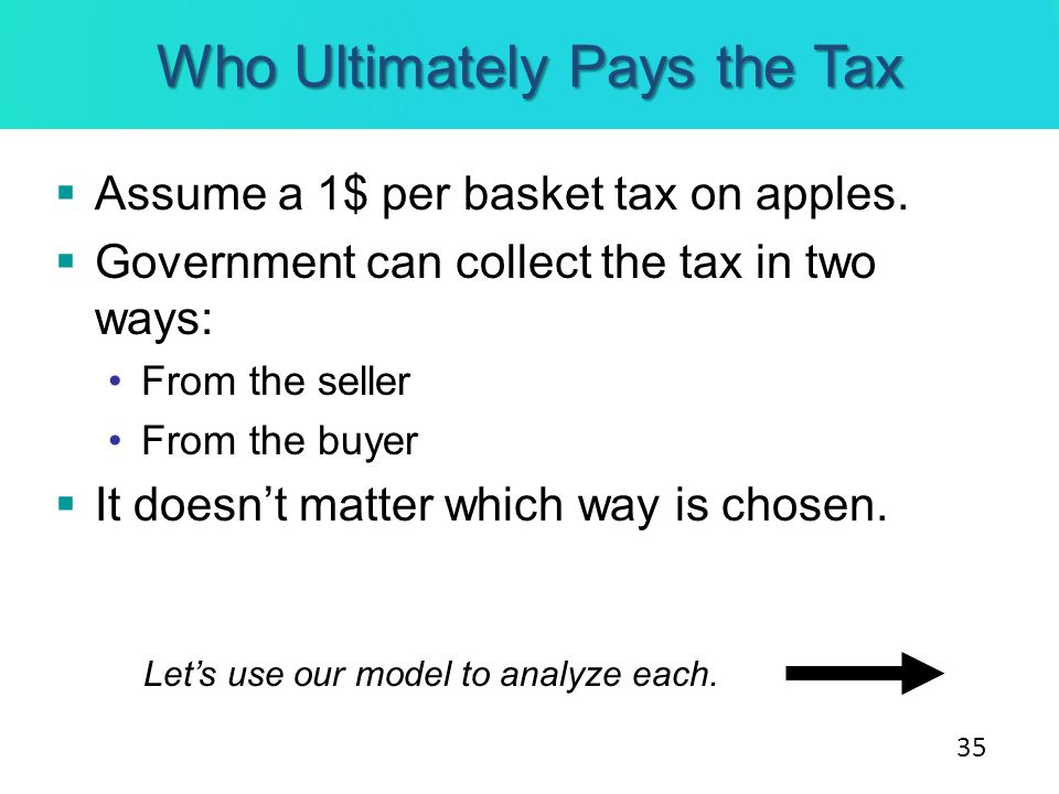 Who Ultimately Pays the Tax Assume a 1$ per basket tax on apples. Government can collect the tax in two ways: From the seller From the buyer It doesnt