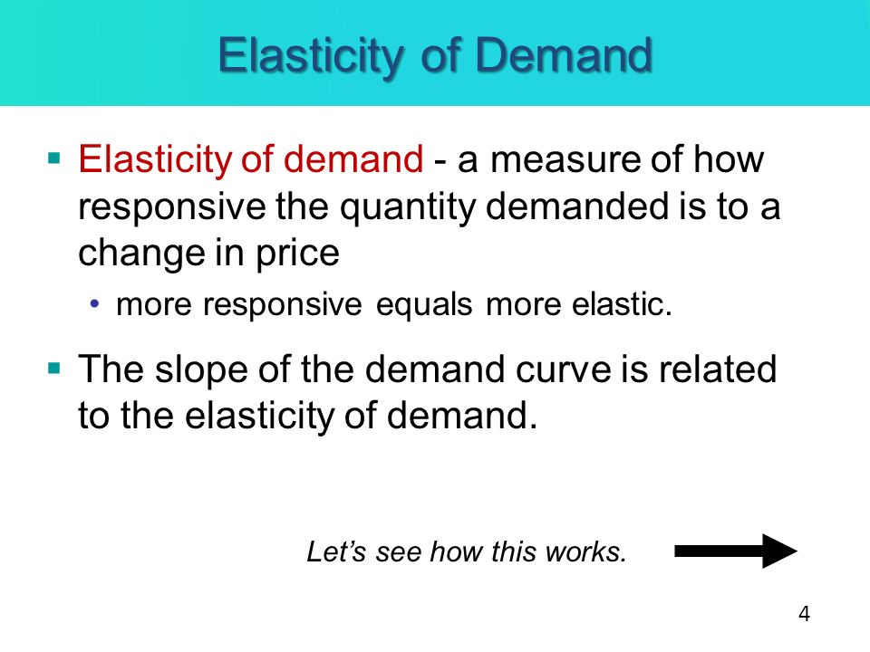 Elasticity of Demand Elasticity of demand - a measure of how responsive the quantity demanded is to a change in price more responsive equals more elas