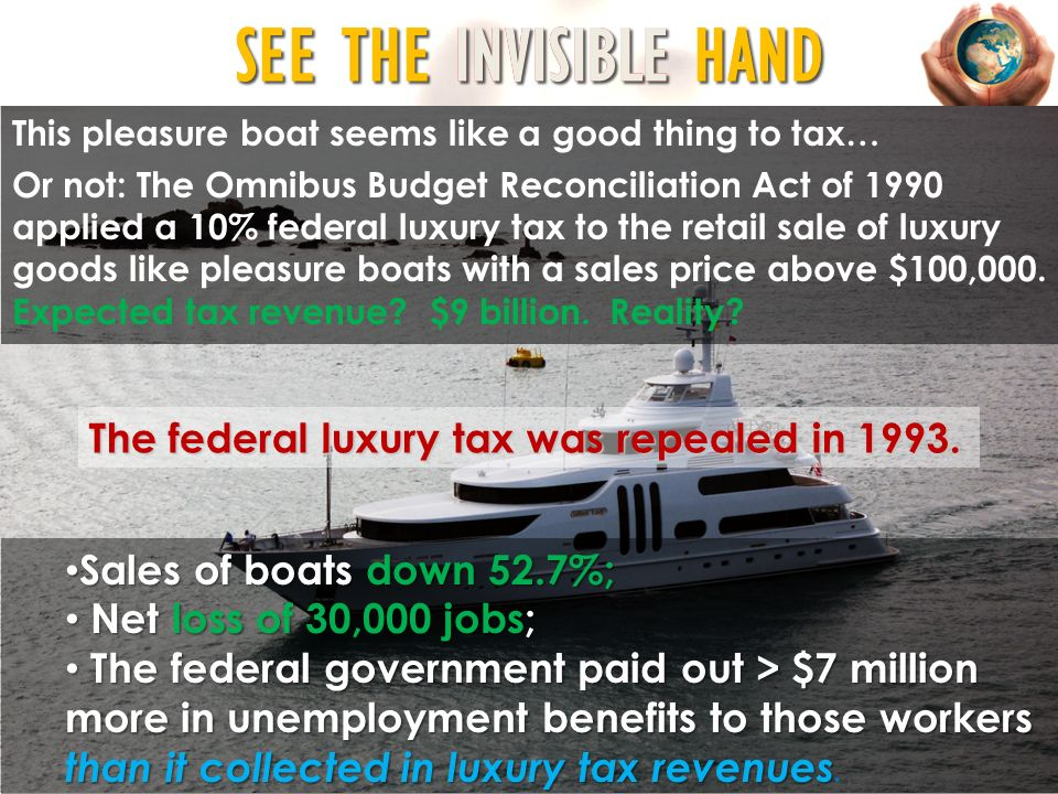 B ACK TO SEE THE INVISIBLE HAND This pleasure boat seems like a good thing to tax… Or not: The Omnibus Budget Reconciliation Act of 1990 applied a 10%