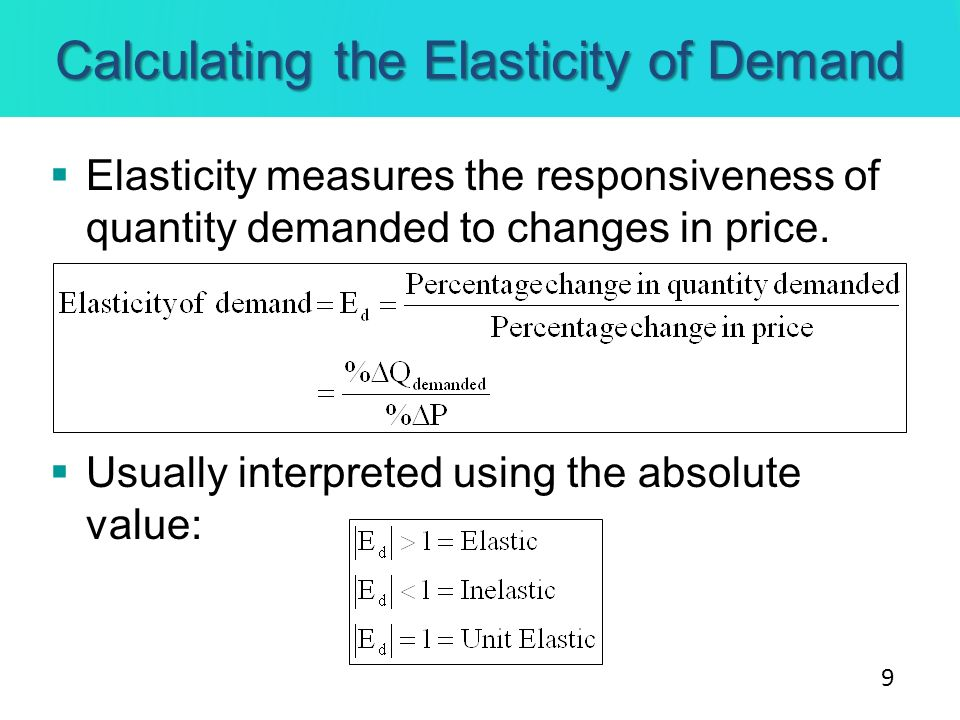 Calculating the Elasticity of Demand Elasticity measures the responsiveness of quantity demanded to changes in price. Usually interpreted using the ab