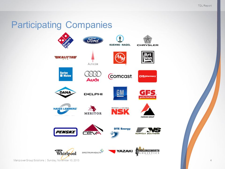 TDL Report ManpowerGroup Solutions | Sunday, November 10, 20134 Participating Companies