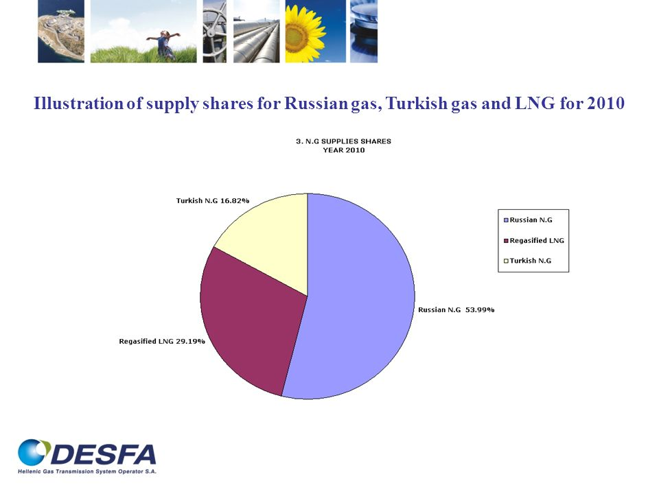 Illustration of supply shares for Russian gas, Turkish gas and LNG for 2010