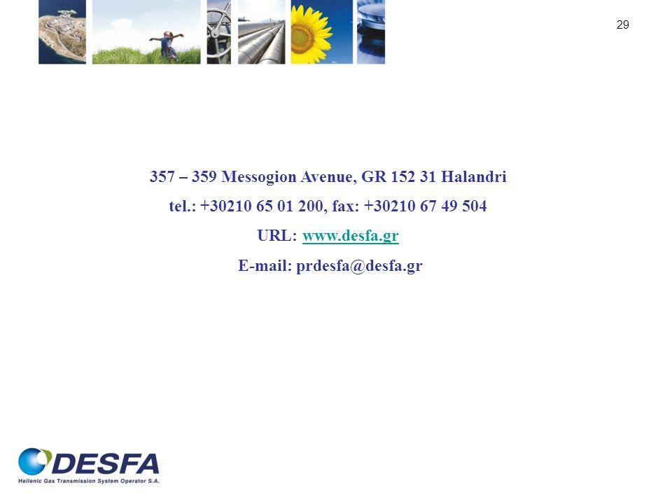29 357 – 359 Messogion Avenue, GR 152 31 Halandri tel.: +30210 65 01 200, fax: +30210 67 49 504 URL: www.desfa.grwww.desfa.gr E-mail: prdesfa@desfa.gr
