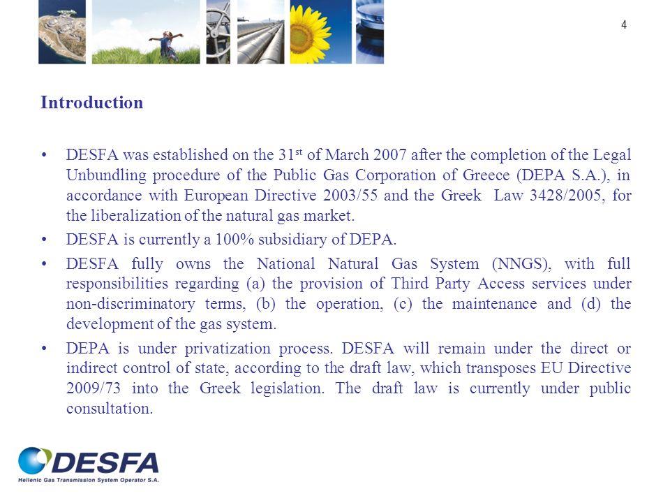 Current Corporate Structure of DESFA after the Legal Unbundling 5