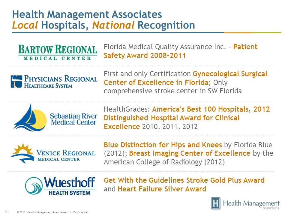 © 2011 Health Management Associates, Inc. Confidential. 13 Health Management Associates Local Hospitals, National Recognition Florida Medical Quality