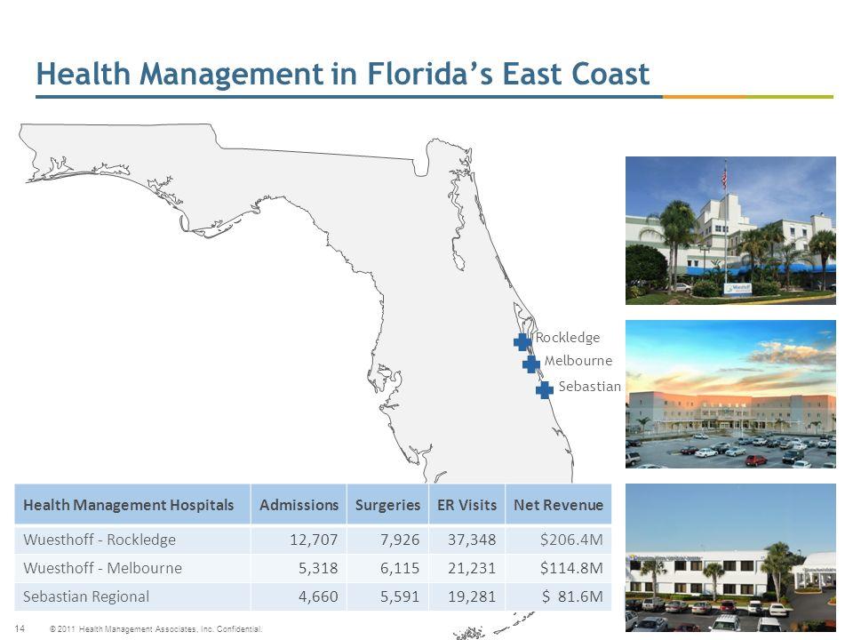 © 2011 Health Management Associates, Inc. Confidential. 14 Health Management in Floridas East Coast Melbourne Rockledge Sebastian Health Management Ho