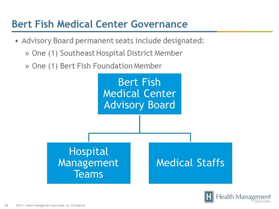 © 2011 Health Management Associates, Inc. Confidential. 24 Bert Fish Medical Center Governance Bert Fish Medical Center Advisory Board Hospital Manage