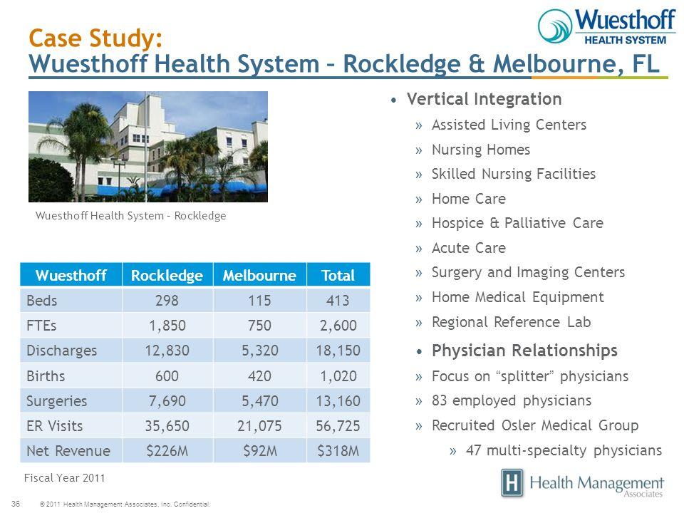 © 2011 Health Management Associates, Inc. Confidential. 36 Case Study: Wuesthoff Health System – Rockledge & Melbourne, FL Vertical Integration » Assi