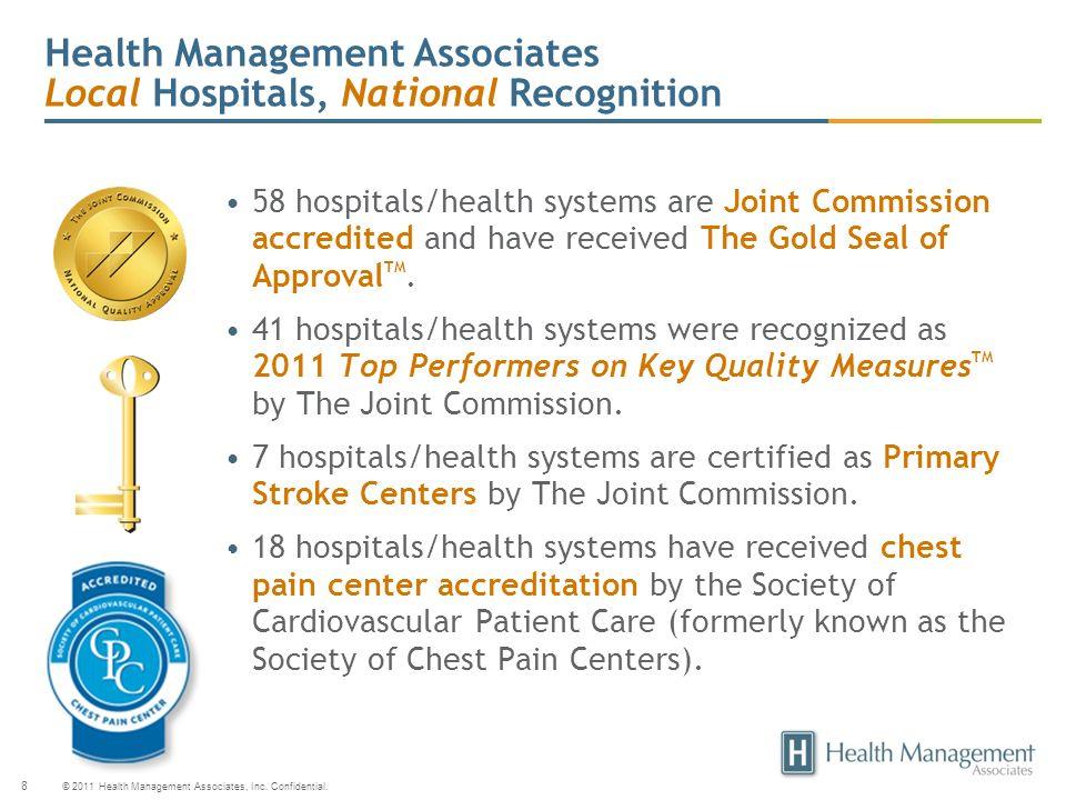 © 2011 Health Management Associates, Inc. Confidential. 8 Health Management Associates Local Hospitals, National Recognition 58 hospitals/health syste