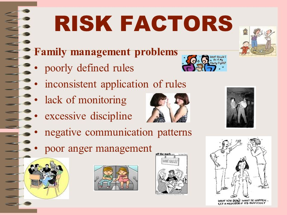 RISK FACTORS Family management problems poorly defined rules inconsistent application of rules lack of monitoring excessive discipline negative commun