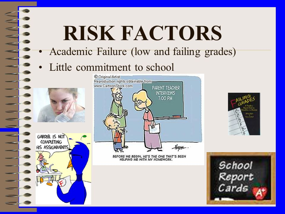 RISK FACTORS Academic Failure (low and failing grades) Little commitment to school