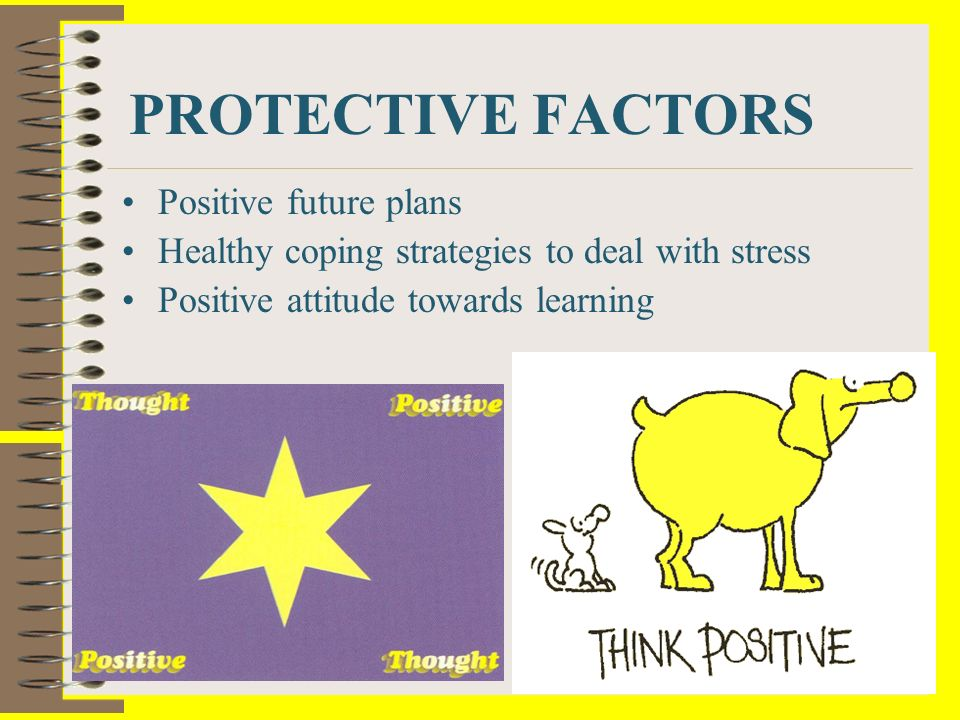 PROTECTIVE FACTORS Positive future plans Healthy coping strategies to deal with stress Positive attitude towards learning