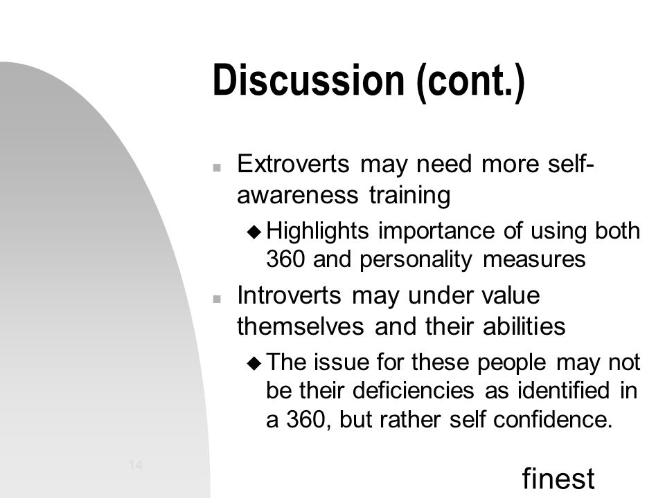 finest 14 Discussion (cont.) n Extroverts may need more self- awareness training u Highlights importance of using both 360 and personality measures n Introverts may under value themselves and their abilities u The issue for these people may not be their deficiencies as identified in a 360, but rather self confidence.