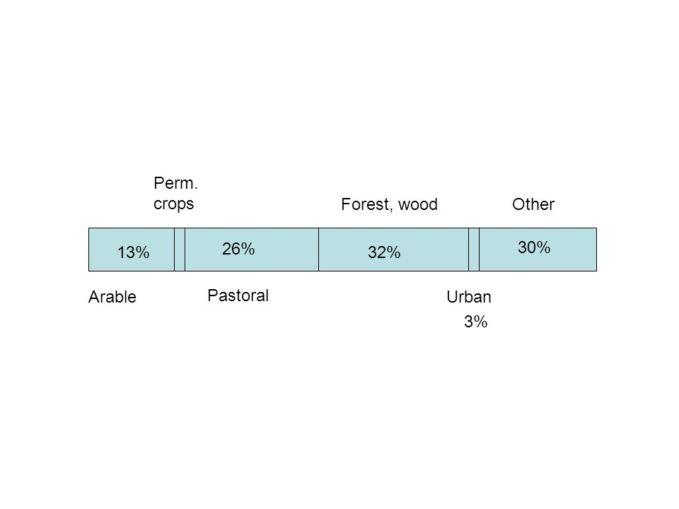 Arable Perm. crops Pastoral Forest, wood Urban Other 13% 26% 3% 30% 32%